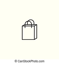 line shopping bag icon on white background