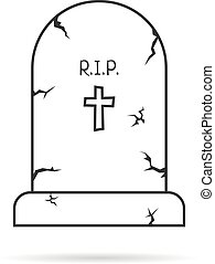 thin line simple tombstone. concept of affliction, fatal,...