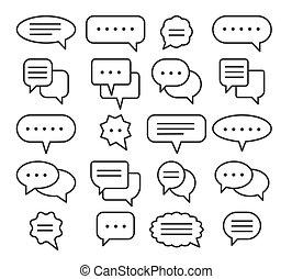 Thin line speech bubble icons