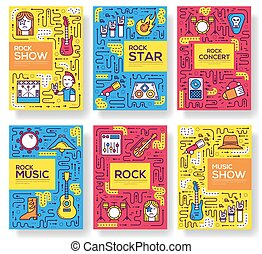 Thin line stage with different music instrunents brochure card set. Equipment for plating rock'n'roll template of flyear, magazines, poster, book cover, banner. Outline club and bar invitation