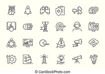 line startup icons set on white background