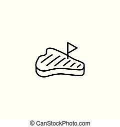 line steak black icon on white background