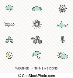 Thin Line Stroke Weather Icons