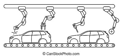 Thin line style car assembly conveyor line.
