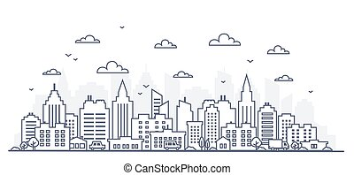 Thin line style city panorama. Illustration of urban landscape street with cars, skyline city office buildings, on light background. Outline cityscape. Wide horizontal panorama.