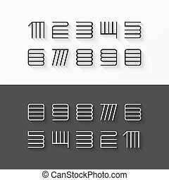 Thin line style font numbers