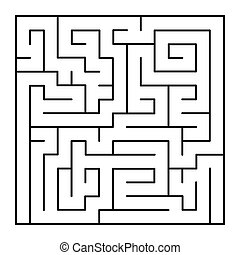 Thin Line Style Maze on White Background. Vector