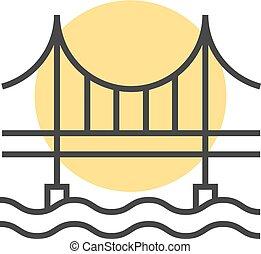 thin line sunset behind the bridge logo