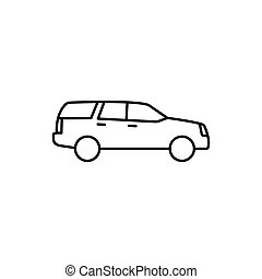 thin line suv car icon on white background