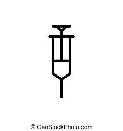 line syringe icon on white background