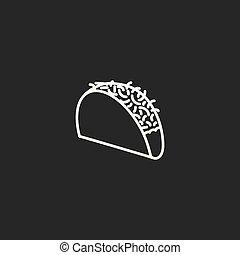 line taco icon on white background