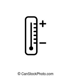 line thermometer icon on white background