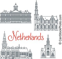 Thin line travel icons of Netherlands - Historical and...