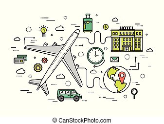 Thin line travel vacation modern illustration concept. Infographic guide way from the plane to the hotel. Icons isolated on white background. Flat vector template design for web and mobile application
