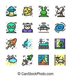 Thin line UFO icons set, vector illustration
