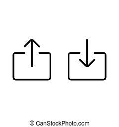 thin line upload, download icon