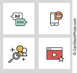 Thin line Various Social Media Icons Set.