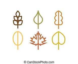 Thin line vector autumn tree leaf icons