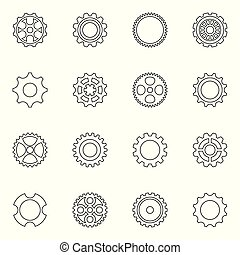 Thin line vector cog wheels and gears