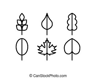Thin line vector tree leaf icons