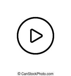 line video play icon on white background