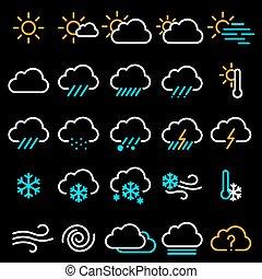 Thin line weather icon set. - Thin line flat design weather ...
