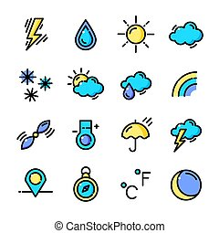 Thin line Weather icons set, vector illustration