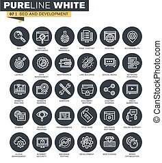 Thin line web icons collection for website optimization, ...