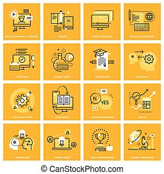 Thin line web icons of e-learning