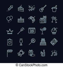 Thin line web icons - party, birthday, holidays