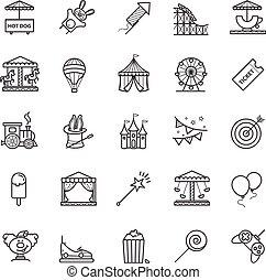 Thin line web icons set - amusement park
