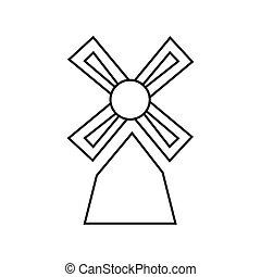 Thin line windmill icon