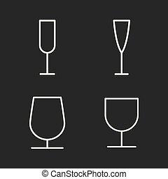 line wine glass icons set on dark background