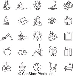 Thin line yoga icons set. health life for your design