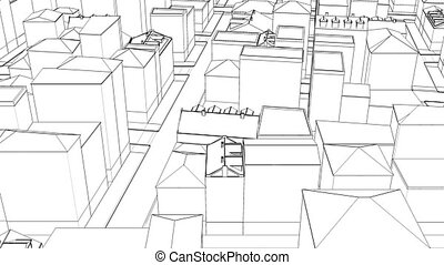 Thin Linear drawing city sketch town 4k