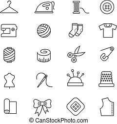 Thin lines fabric, sewing, tailor, knitting vector icons