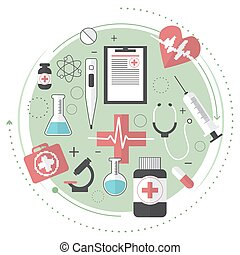 Thin lines flat design of city medicine services, medical supplies, ambulance emergency help for illness patient. Modern concept. Line art. Vector