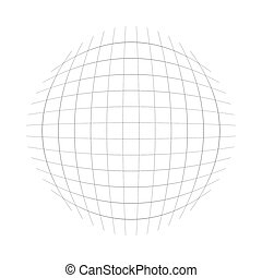 Thin lines globe, sphere lattice, grating pattern. deformed convex, protrude orbicular lines, stripes. Abstract, geometric spherical, globular effect
