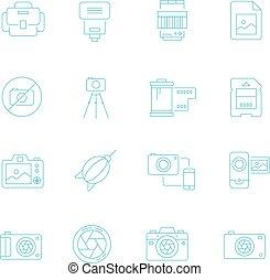Thin lines icon set - camera