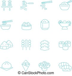 Thin lines icon set - Eastern food