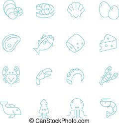 Thin lines icon set - raw food