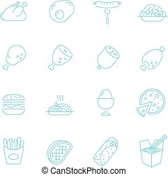 Thin lines icon set - Western food