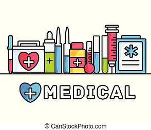 thin lines style medical equipment set icons concept background. vector illustration