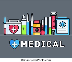 thin lines style medical equipment set icons concept background. vector illustration design