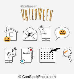 Thin lines web icons set Halloween theme