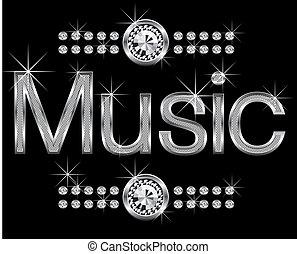 thin metal diamond word music - vector thin metal diamond...