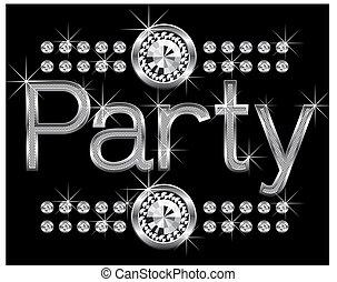 thin metal diamond word party - vector thin metal diamond...