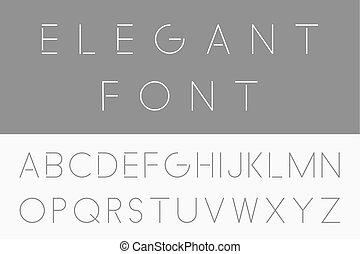 Thin minimalistic font. Vector english alphabet.