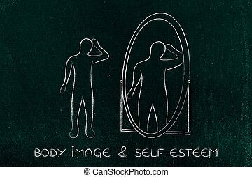 thin person looking in the mirror and seeing himself as overweight