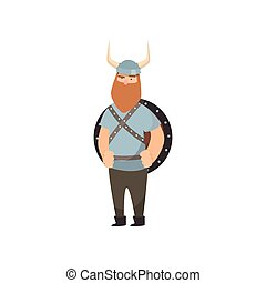 Thin red-bearded viking stands with shield behind shoulders and clenched fists over white background